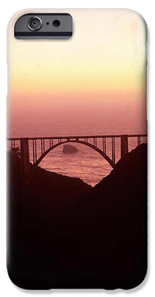 Bixby Bridge iPhone Cases - Silhouette Of A Bridge At Sunset, Bixby iPhone Case by Panoramic Images