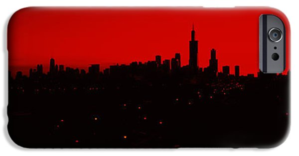 Sears Tower iPhone Cases - Silhouette Of Buildings At Sunrise iPhone Case by Panoramic Images