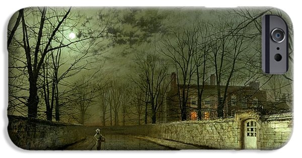 Eerie Paintings iPhone Cases - Silver Moonlight iPhone Case by John Atkinson Grimshaw