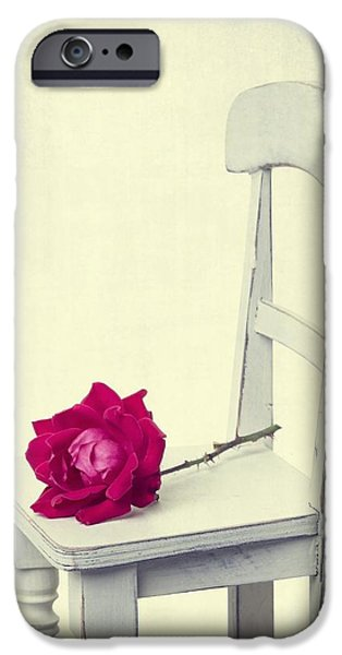 Rose iPhone Cases - Single Red Rose iPhone Case by Edward Fielding