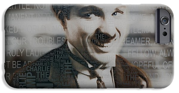 The Tramp iPhone Cases - Sir Charles Spencer Charlie Chaplin Square iPhone Case by Tony Rubino
