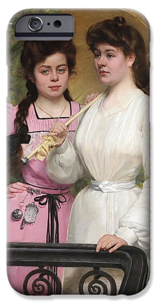 Concept Paintings iPhone Cases - Sisters iPhone Case by Charles Boom