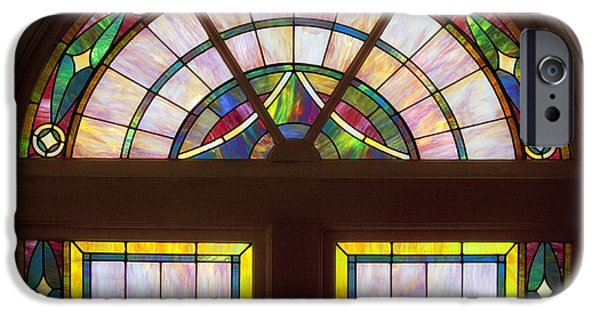 Stained Glass Glass Art iPhone Cases - Sixteenth Street Baptist Church Stained Glass - Birmingham Alabama iPhone Case by Mountain Dreams