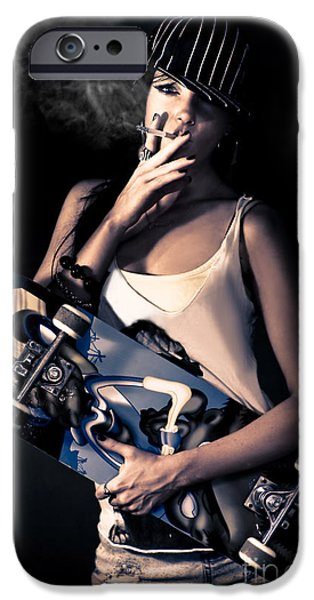 Tomboy iPhone Cases - Skater Girl Smoking A Cigarette iPhone Case by Ryan Jorgensen