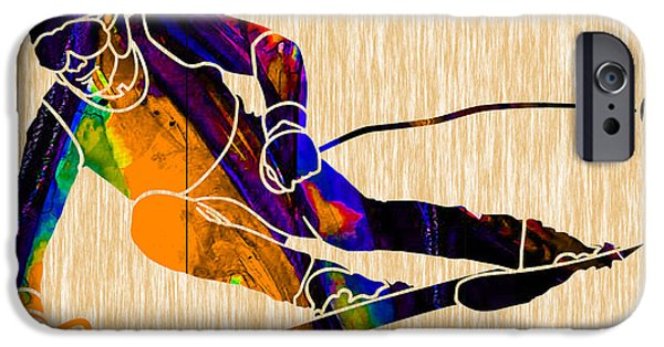 Skiing iPhone Cases - Ski Painting iPhone Case by Marvin Blaine