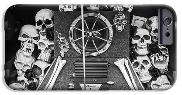 Cruiser iPhone Cases - Skull and Bones - PT Cruiser iPhone Case by Jill Reger