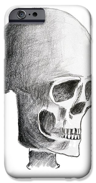 Creepy Drawings iPhone Cases - Skull iPhone Case by Michal Boubin
