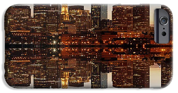 Town iPhone Cases - Skyline Panorama of Boston iPhone Case by Juergen Roth