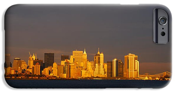 Hudson River iPhone Cases - Skyscrapers And A Statue iPhone Case by Panoramic Images