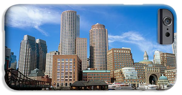 Mode Of Transport iPhone Cases - Skyscrapers At The Waterfront, Boston iPhone Case by Panoramic Images