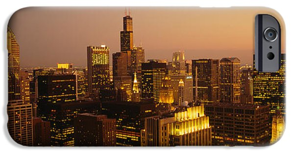 Sears Tower iPhone Cases - Skyscrapers In A City, Chicago iPhone Case by Panoramic Images