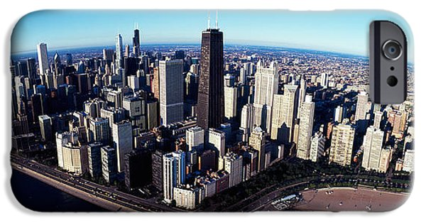 Willis Tower iPhone Cases - Skyscrapers In A City, Lake Shore iPhone Case by Panoramic Images