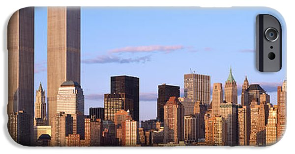 Hudson River iPhone Cases - Skyscrapers In A City, World Trade iPhone Case by Panoramic Images