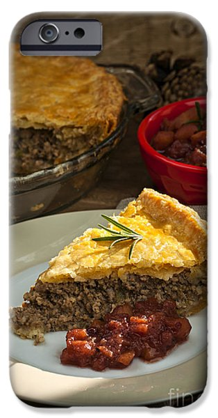 Beef iPhone Cases - Slice of Tourtiere meat pie  iPhone Case by Elena Elisseeva