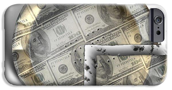 Business Digital Art iPhone Cases - Slice Of US Dollar Money Pie iPhone Case by Allan Swart