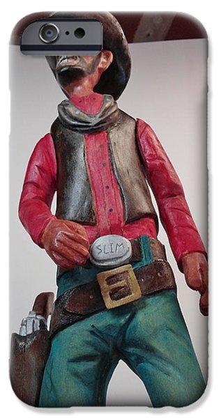 Michael Sculptures iPhone Cases - SLIM Cowboy iPhone Case by Michael Pasko
