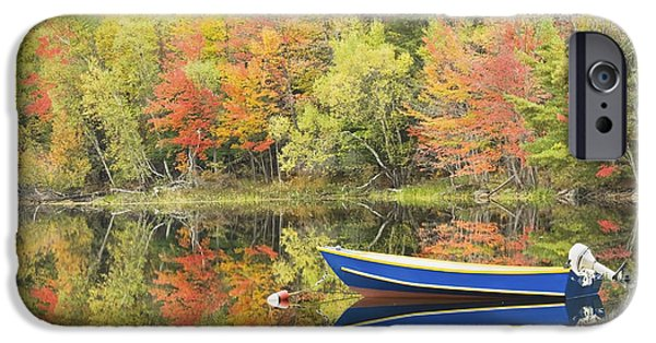 Autumn In New England iPhone Cases - Small Motor Boat in Fall Torsey Pond Readfield Maine iPhone Case by Keith Webber Jr
