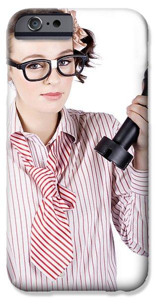 Analyst iPhone Cases - Smart Business Woman Devising Marketing Plan iPhone Case by Ryan Jorgensen