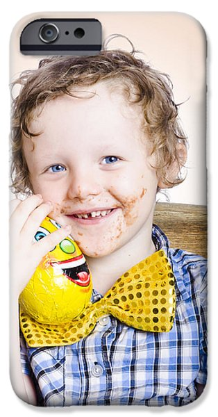 Innocence iPhone Cases - Smiling happy kid holding easter egg gift iPhone Case by Ryan Jorgensen
