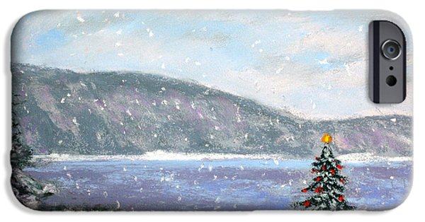 Christmas Pastels iPhone Cases - Smith Mountain Lake Christmas iPhone Case by Shelley Koopmann