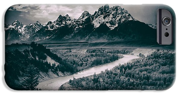 Dark Skies iPhone Cases - Snake River in the Tetons - 1930s iPhone Case by Ansel Adams