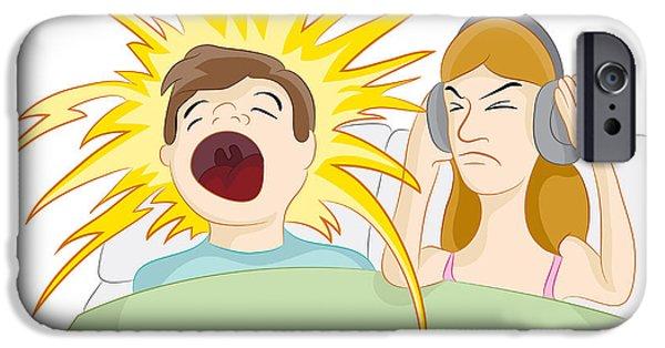 Apnea Digital iPhone Cases - Snoring Husband iPhone Case by John Takai