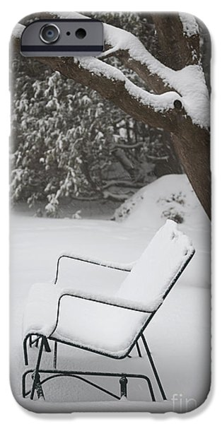 Bench iPhone Cases - Snow covered bench iPhone Case by Elena Elisseeva