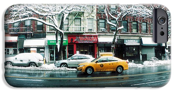 Union Square iPhone Cases - Snow Covered Cars Parked On The Street iPhone Case by Panoramic Images