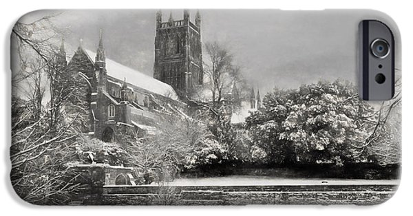 Winter Storm Drawings iPhone Cases - Snow Covered Cathedral 2 iPhone Case by Roy Pedersen