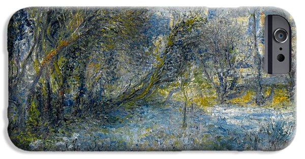 1870 iPhone Cases - Snow covered Landscape iPhone Case by Pierre-Auguste Renoir
