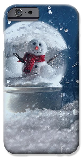 Vivid iPhone Cases - Snow globe in a snowy winter scene iPhone Case by Sandra Cunningham