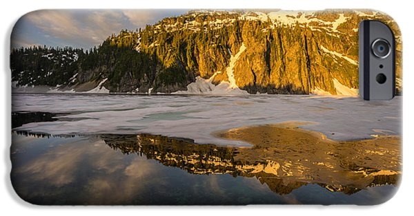 Snow iPhone Cases - Snow Lake Morning Reflection iPhone Case by Mike Reid