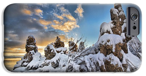 Calcium Carbonate iPhone Cases - Snow on Tufa at Mono Lake iPhone Case by Peter Dang