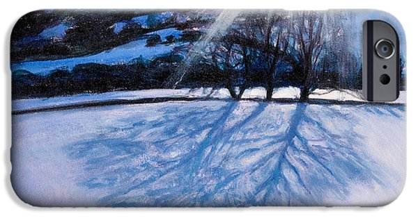 Winter Light Paintings iPhone Cases - Snow Shadows iPhone Case by Tilly Willis