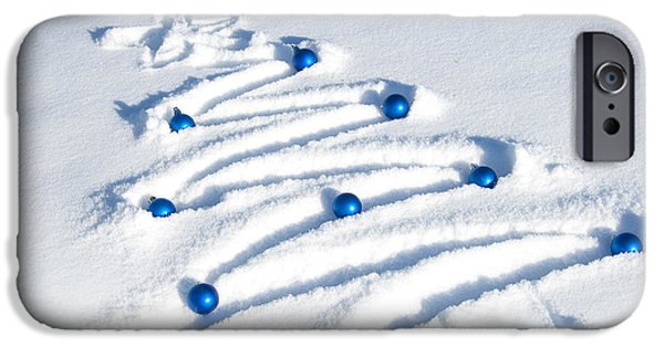 Baubles iPhone Cases - Snow Tree iPhone Case by Juli Scalzi