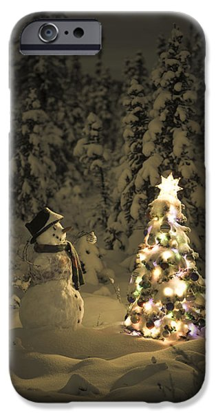 Snowy Night iPhone Cases - Snowman Stands In A Snowcovered Spruce iPhone Case by Kevin Smith