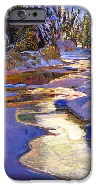Snow-covered Landscape Paintings iPhone Cases - Snowy Creek iPhone Case by David Lloyd Glover