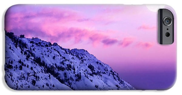 Snowy Night iPhone Cases - Snowy mountains iPhone Case by Anna Omelchenko
