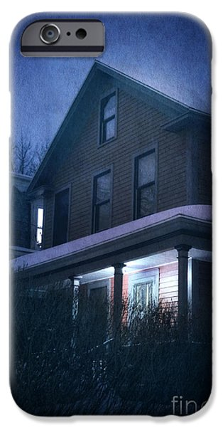 Creepy iPhone Cases - Snowy Night iPhone Case by HD Connelly