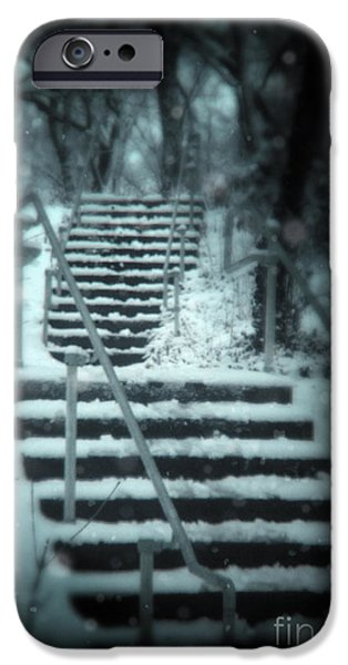 Snowy Night iPhone Cases - Snowy Stairway iPhone Case by Jill Battaglia