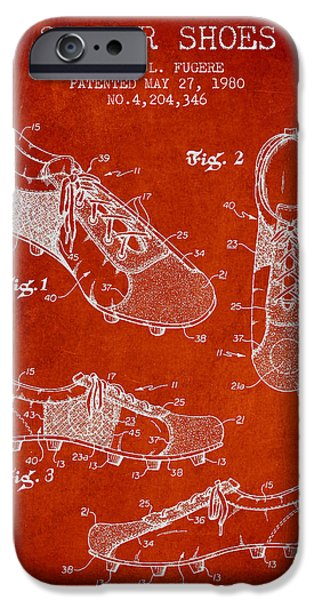 Soccer iPhone Cases - SoccerShoe Patent from 1980 iPhone Case by Aged Pixel