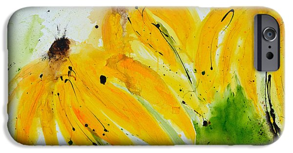 Abstracted Coneflowers Mixed Media iPhone Cases - Sonnenhut -  Floral Painting  iPhone Case by Ismeta Gruenwald