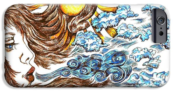 Sun Rays Drawings iPhone Cases - Soothing Breeze iPhone Case by Karen Sirard