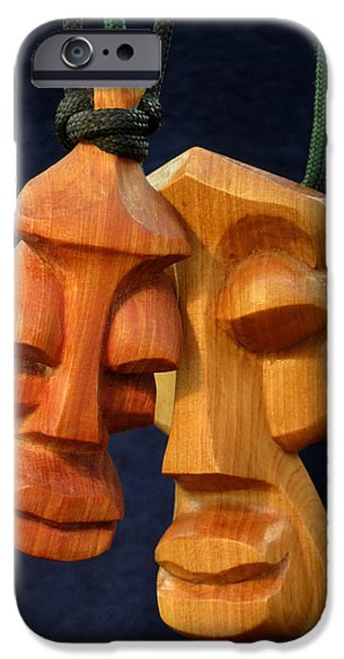 Soul Sculptures iPhone Cases - Soul Heads 1 and 2 iPhone Case by Windy Dankoff
