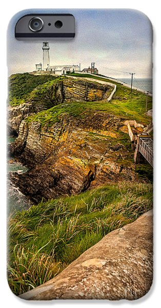 Daniel iPhone Cases - South Stack Lighthouse iPhone Case by Adrian Evans