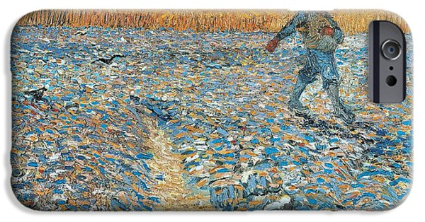 Holland Paintings iPhone Cases - Sower iPhone Case by Vincent van Gogh