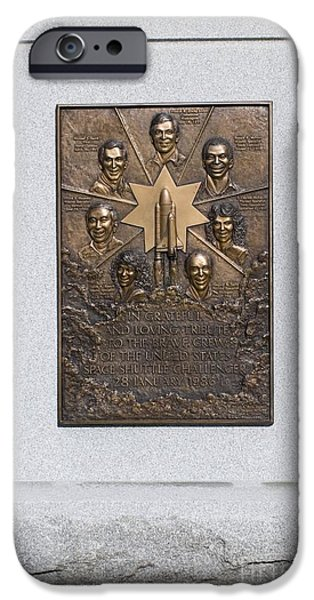 Headstones iPhone Cases - Space Shuttle Challenger Memorial iPhone Case by Mark Williamson