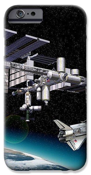 Space Station In Orbit Around Earth iPhone Case by Leonello Calvetti