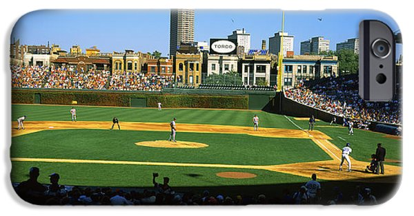 Wrigley Field iPhone Cases - Spectators In A Stadium, Wrigley Field iPhone Case by Panoramic Images