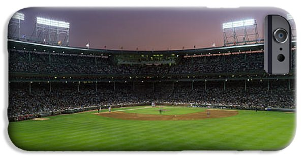 Baseball Stadiums iPhone Cases - Spectators Watching A Baseball Match iPhone Case by Panoramic Images